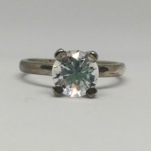 White Spinel Sterling Solitaire Engagement Ring